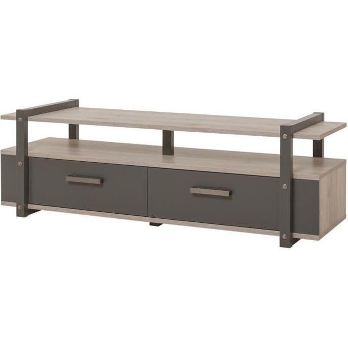 BROOKLYN Meuble TV industriel décor chêne et gris anthracite - L 140 cm
