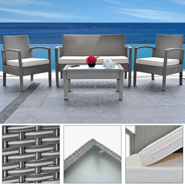 DEUBA - Salon de Jardin - Polyrotin • set complet + coussins - Gris - Résistant intempéries et UV, canapé, fauteuils, mobilier