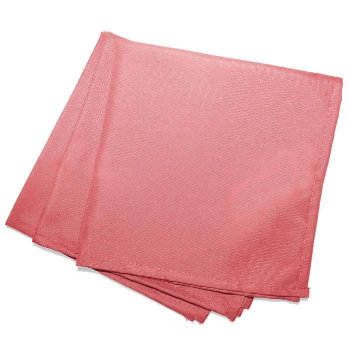 CDaffaires Serviettes de table -3 40 x 40 cm polyester uni essentiel Corail
