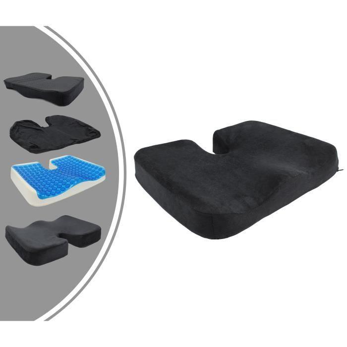 Coussin de Siège Orthopédique avec Gel, Coussin Coccyx avec une Épaisseur en Gel, Noir, Dimensions: 45 x 35 x 7 cm