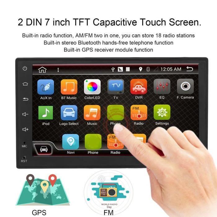 7 -Android 6.0 Double DIN voiture lecteur audio vidéo de navigation GPS avec radio et Wifi noir