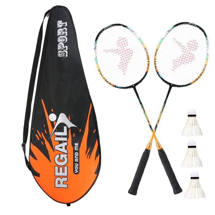 26 pouces Raquette de badminton en fibre de carbone légère et solide + sac + 3 volants - Orange