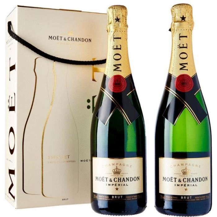 MOET & CHANDON CHAMPAIGN RESERVE IMPERIAL TWIN SET 2 BOTTLES GIFT PACKAGE 75 CL