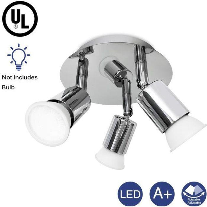 LED 3 spots orientables, plafonnier salle de bain, chrome, GU10 Cuisine moderne plafonnier applique murale (ampoule non incluse)