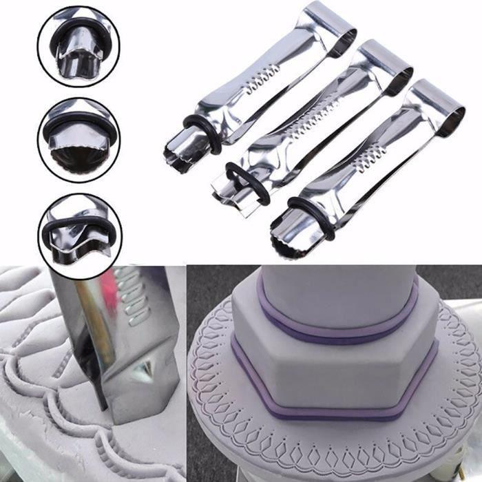 3pcs acier inoxydable clip de dentelle pince coupeurs fondant moule à gâteau outil de cuisson bricolage argent