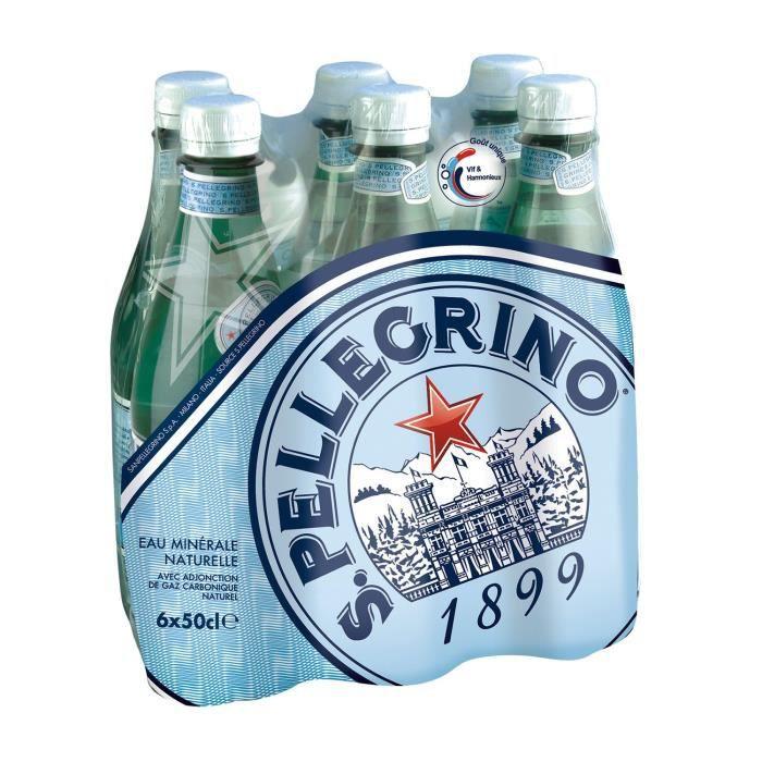 SAN PELLEGRINO Eau minérale naturelle gazeuse - Pack de 6 bouteilles de 50cL