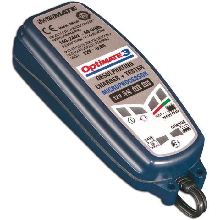 JARDIN PRATIC Chargeur de batterie OPTIMATE 3, de 2 à 30 Ah avec fonction désulfatation