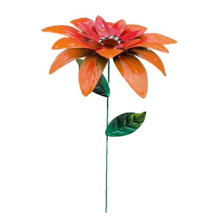 Métal Fleur Stakes Jardin Hémérocalle ornements floraux Art Artisanat Décor Pelouse orange