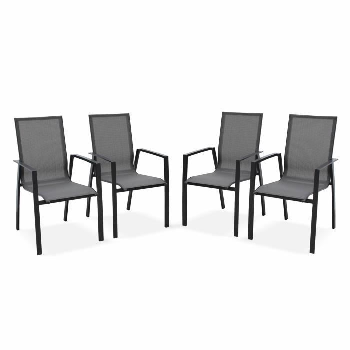 Ensemble table et chaise de jardin Lot de 4 fauteuils - Washington Anthracite - En al