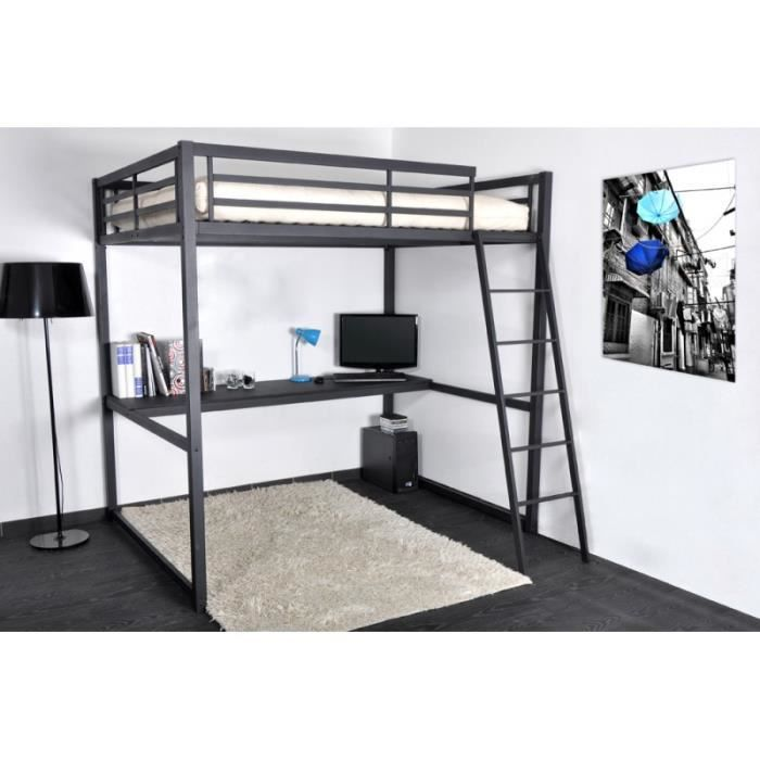 lit mezzanine 140 x 190 noir mat avec bureau mathias achat vente lit mezzanine soldes. Black Bedroom Furniture Sets. Home Design Ideas