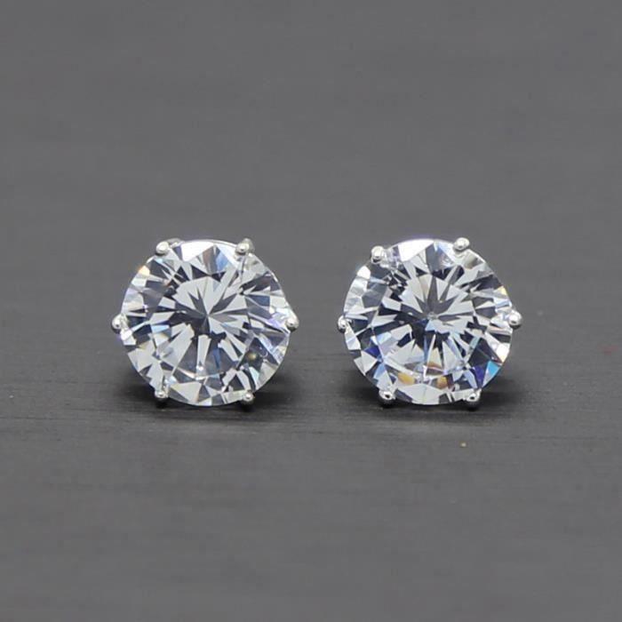 JewelryWe Boucles doreilles Cr/éole Clips Pince Sans Trou Strass Diamant Artificiel Acier inoxydable Femme Homme
