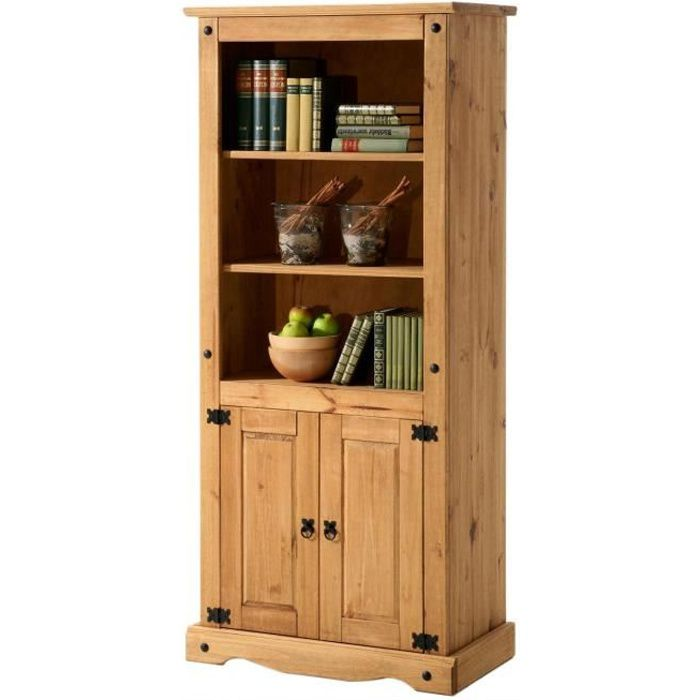 biblioth que pin massif finition cir e achat vente buffet bahut biblioth que pin massif. Black Bedroom Furniture Sets. Home Design Ideas
