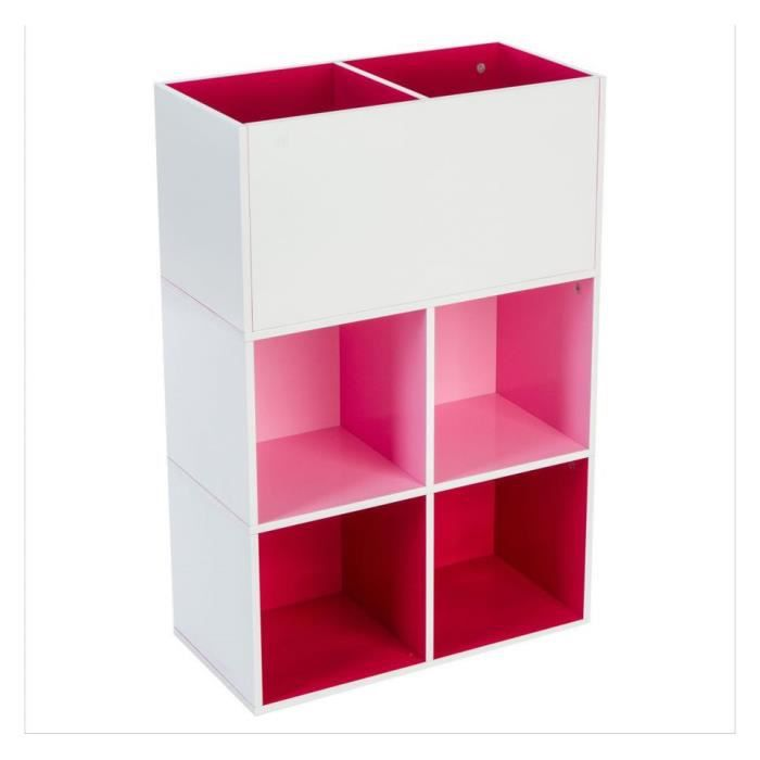 etagere 4 cases rangement 2 bacs rose achat vente. Black Bedroom Furniture Sets. Home Design Ideas