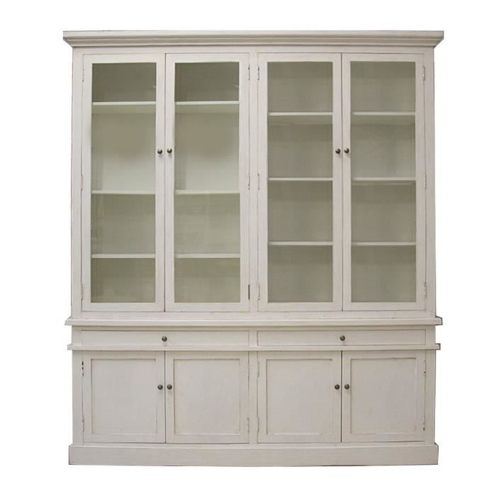 biblioth que 4 portes 2 vitres en peuplier blanc blanc achat vente meuble tag re. Black Bedroom Furniture Sets. Home Design Ideas