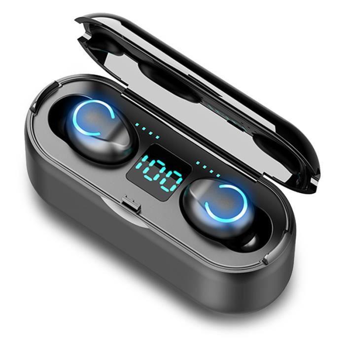 Mini Twins /Écouteurs sans Fil Bluetooth pour Sports avec contr/ôle du Volume /écouteurs st/ér/éo Intra-Auriculaires avec Compartiment de Charge Portable