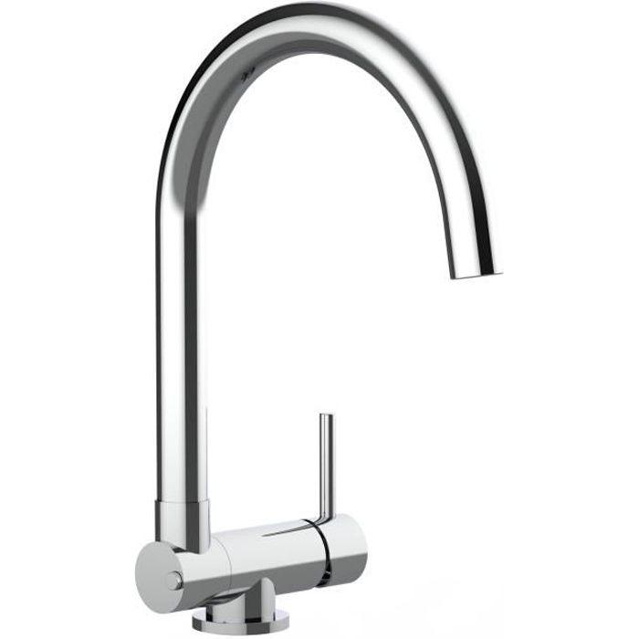 Mitigeur evier robinet cuisine bec pivotant 360/° et rabattable /à 4,5 cm pour un /évier positionn/é devant une fen/être Quartz Noir