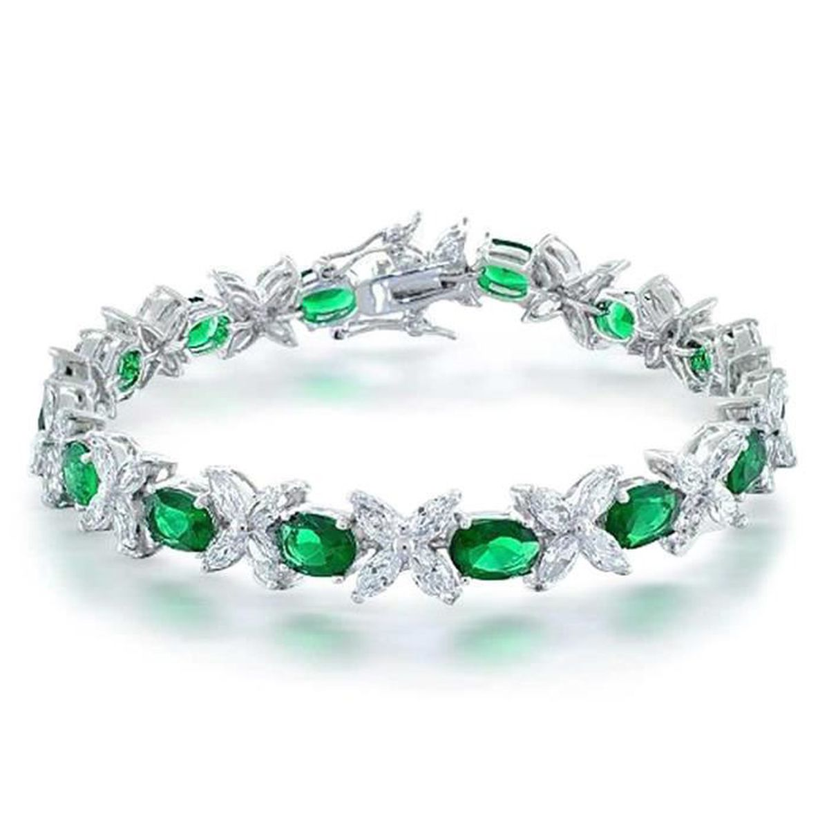 Couleur De L Emeraude couleur Émeraude fleur cz marquise ovale silver bracelet