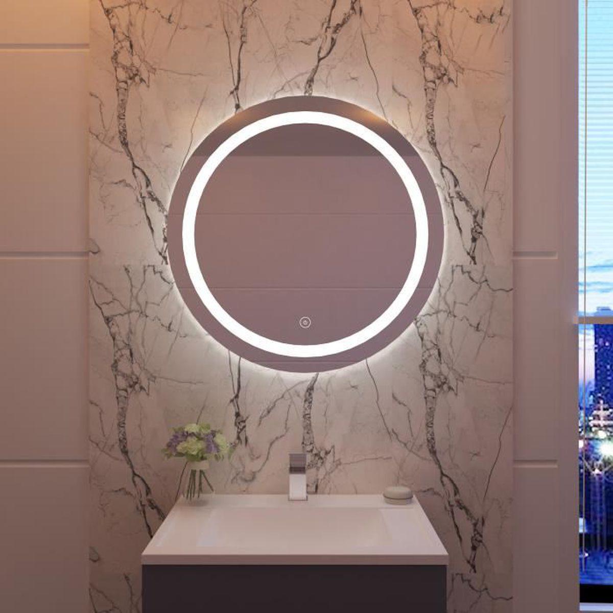 20x20cm rond miroir de salle de bains avec contrôle par capteur,  anti-poussière anti-buée, lumière blanche froide