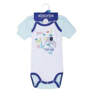 BODY Lot de 2 bodies bébé Garcon ABSORBA - 100% coton -