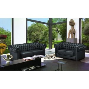 ENSEMBLE CANAPES Ensemble cuir Chesterfield 3-2 places