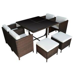 Ensemble table et chaise de jardin Salon de jardin encastrable SANTORIN en résine tre