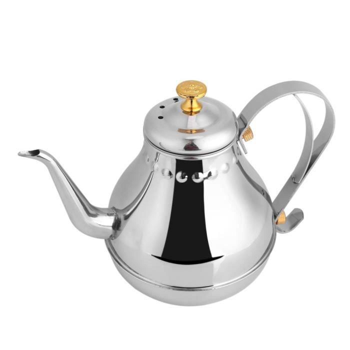 1.2L Pot de filtre à thé col de cygne d'acier inoxydable de versent de bouilloire de tasse d'égouttement de café d'intérieur-MEY