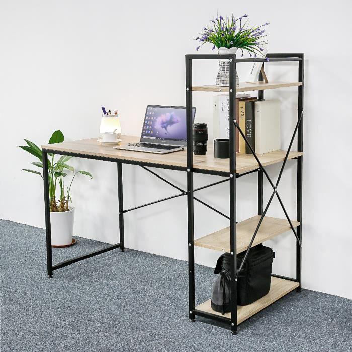 Table de Bureau Bureau d'ordinateur, Table d'étude avec étagères, Industrielle, en Bois et Métal, 120 x 64 x 121 cm Noir+Chêne Clair
