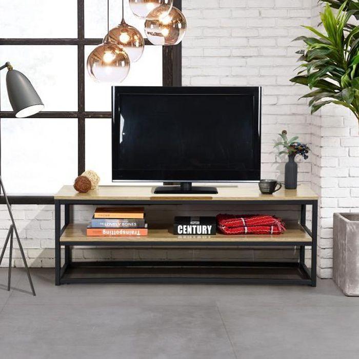 Meuble TV MDF face bureau OAK pvc métal noir à deux niveaux style industriel