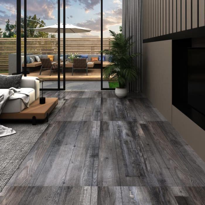 Planches de plancher PVC 5,02m² 2mm Autoadhésif Bois industriel -QUT