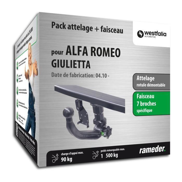 Attelage pour Alfa Romeo GIULIETTA - 04/10-12/99 - rotule démontable - Westfalia - Faiseau spécifique 7 broches