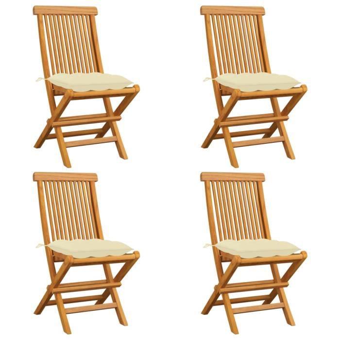 Star® Lot de 4 Chaises de jardin Chaise d'extérieur Contemporain - Fauteuil de Jardin avec coussins blanc crème Teck massif 1283 :-)