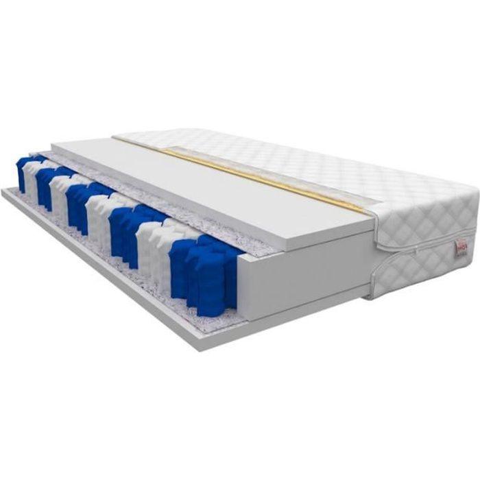 Matelas - MILA - 180 x 200 cm - à ressorts ensachés - 7 zones de confort - avec housse antiallergique - garantie d'un sommeil sain