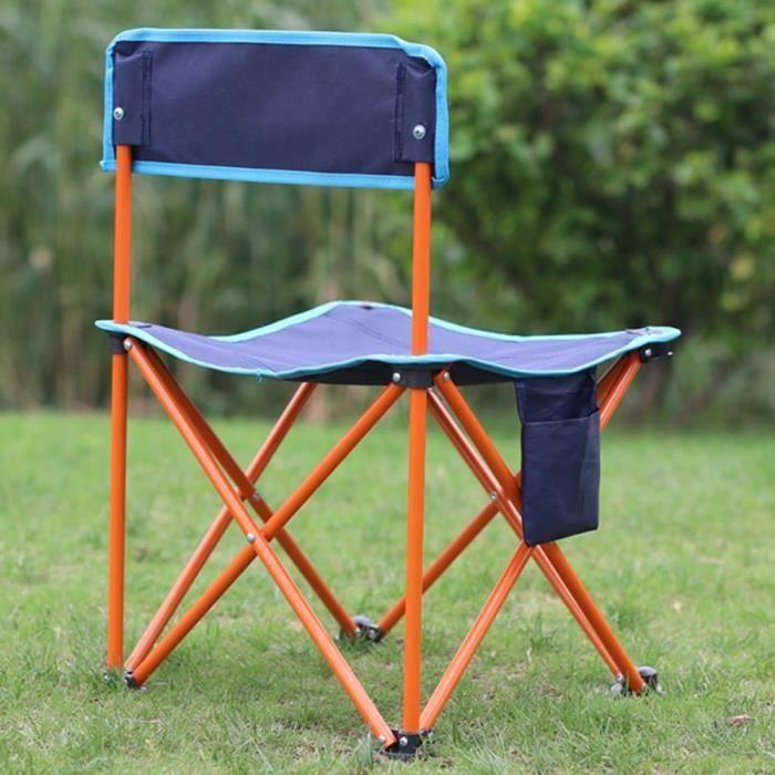 Chaise de camping de pêche pliante portable en plein air Bleu C0215