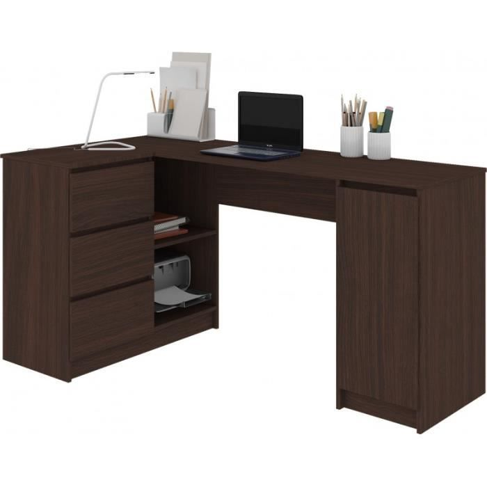 BALAUR - Bureau informatique d'angle contemporain 155x85x77cm - 3 tiroirs + porte - Table ordinateur multi-rangements - Wenge