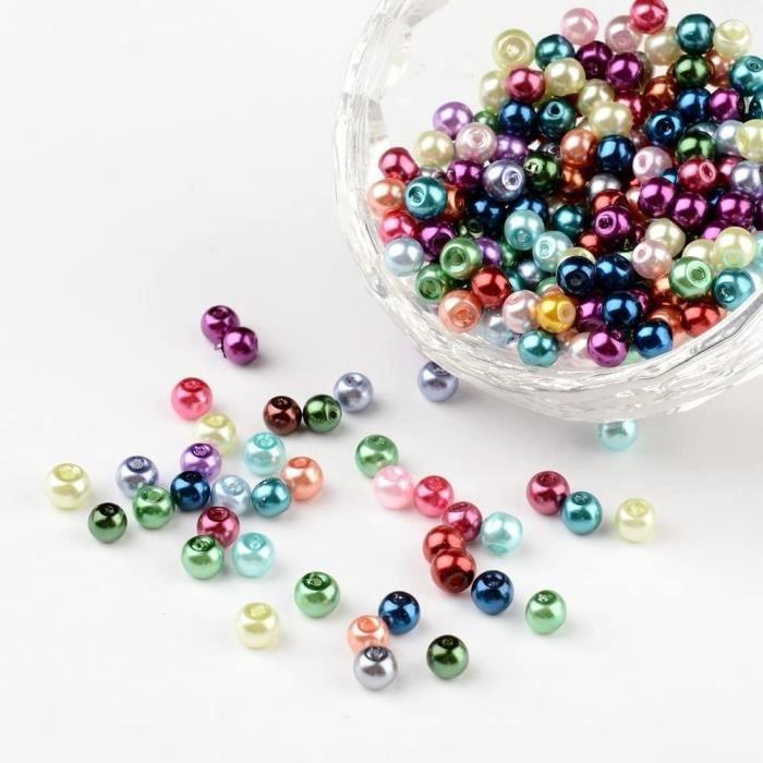 PandaHall - Lot de 400Pcs Perle en Verre Teint Nacre Perle Rond pour Fabrication de Bijoux Bracelet Collier, Couleur Melangee, 4,141