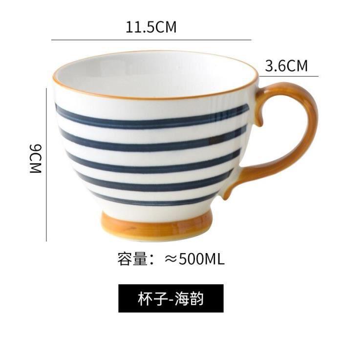 tasses,Tasse à café en céramique japonaise,grande capacité,créative,pour le petit déjeuner,le lait,l'eau,le - Type C 2pcs-500ML
