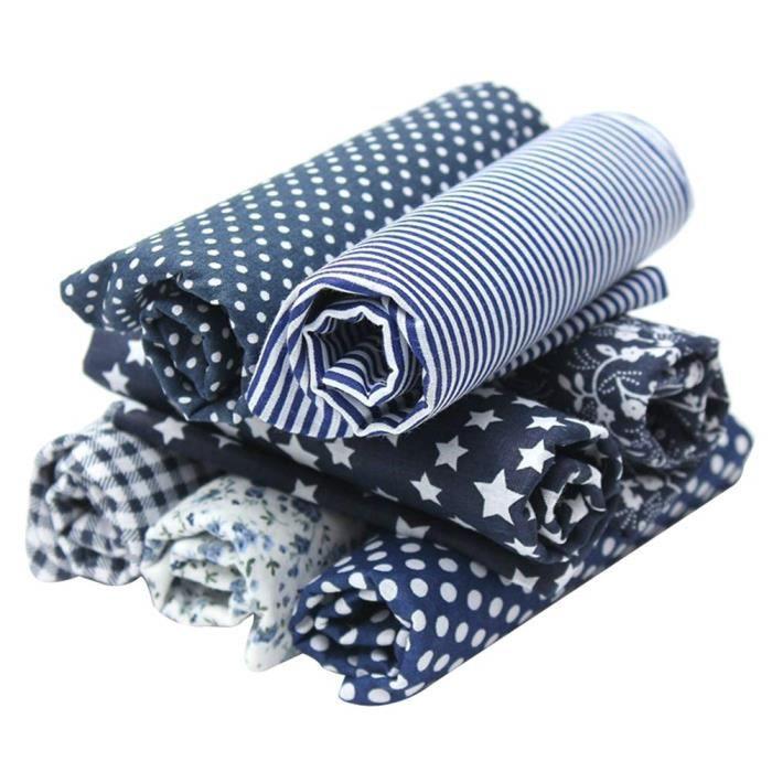 Lot de 7Pcs Textile Tissu Coton pour DIY Patchwork Artisanat Couture 50x50CM
