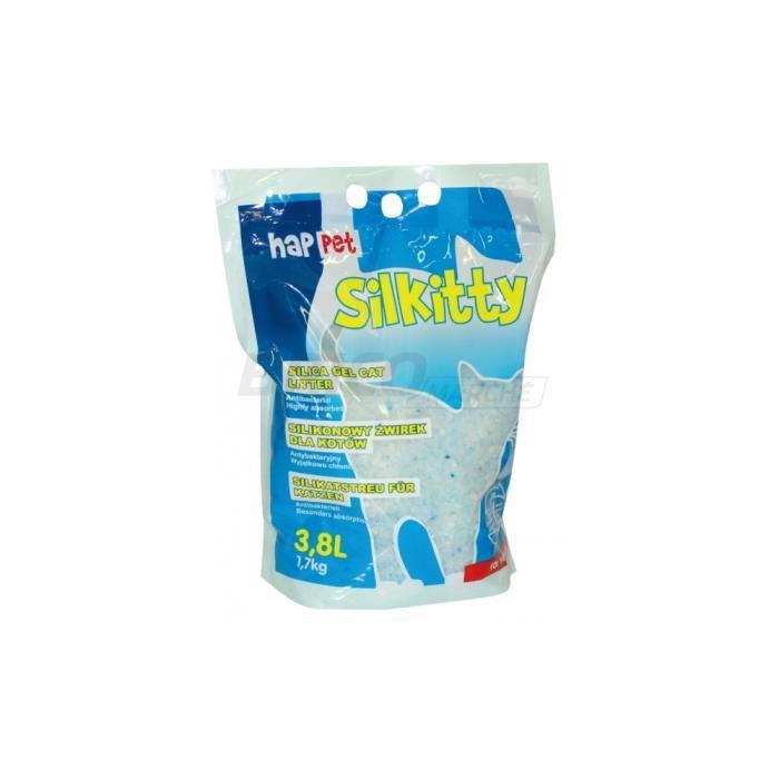 Litière aux cristaux de silice 3,8L (1 mois) agglomérante, ultra absorbante Silkitty pour chat - Q111 - Happet