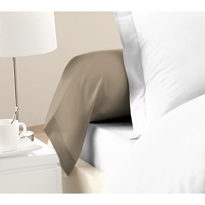 LOVELY HOME Lot de 2 Taies de Traversin 100% coton 85x185 cm - Beige