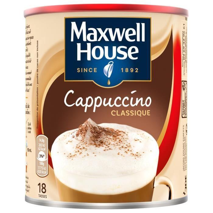 LOT DE 6 - MAXWELL HOUSE Café soluble cappuccino classique - boite de 280 g