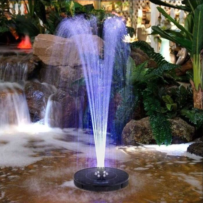 Pompe Fontaine avec- Panneau Solaire LED Imperméable 2,4W Mini Pulvérisateur À Eau Flottante pour Jardin - blanc