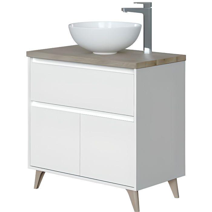 Meuble bas salle de bain avec 2 portes coloris Alaska chêne à nœuds-Blanc brillant - hauteur 80 x Longueur 80 x Profondeur 45 cm