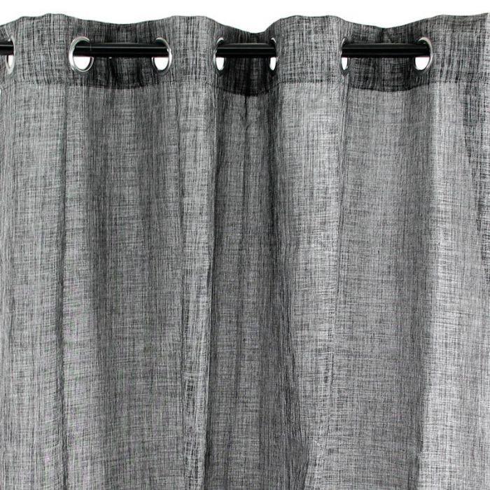 Rideau à oeillets effet chiné noir 140x250cm LINX Noir