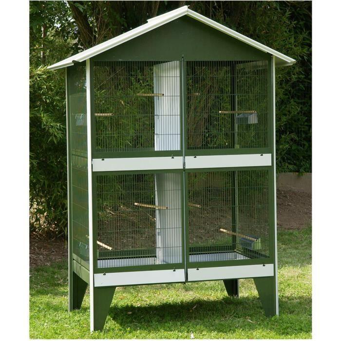 VADIGRAN Volière nr 15 avec toit - 122x82x173 cm - Vert et blanc - Pour oiseau