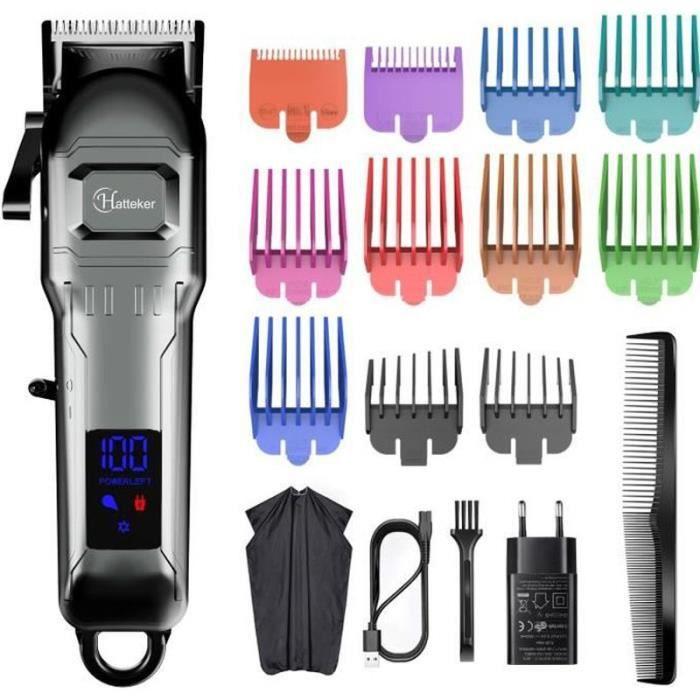 Lsport32556-HATTEKER Tondeuse Cheveux Tondeuse Barbe Professionnelle Electrique avec Ecran LCD Sans Fil USB Rechargeable Imperméab