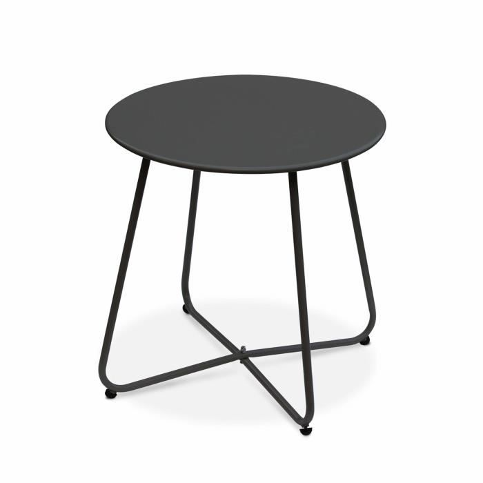 Table basse ronde – Cecilia gris anthracite – Table d ...