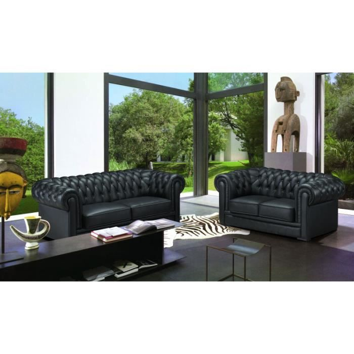 ensemble cuir chesterfield 3 2 places achat vente ensemble canapes cuir cdiscount. Black Bedroom Furniture Sets. Home Design Ideas