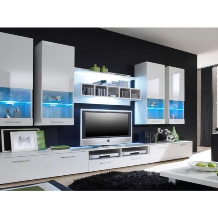 Offre unique mur tv grand alfa complet white led for Grand meuble tv