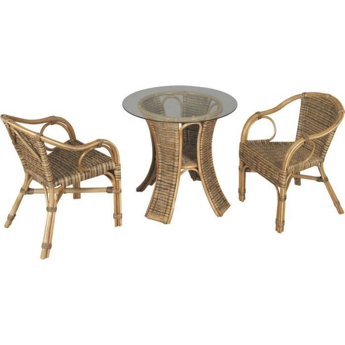 Salon de jardin 1 table ronde plateau verre 2 fauteuils en for Table ronde rotin plateau verre