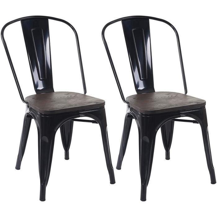 CHAISE 2 chaises de salle à manger style industriel facto